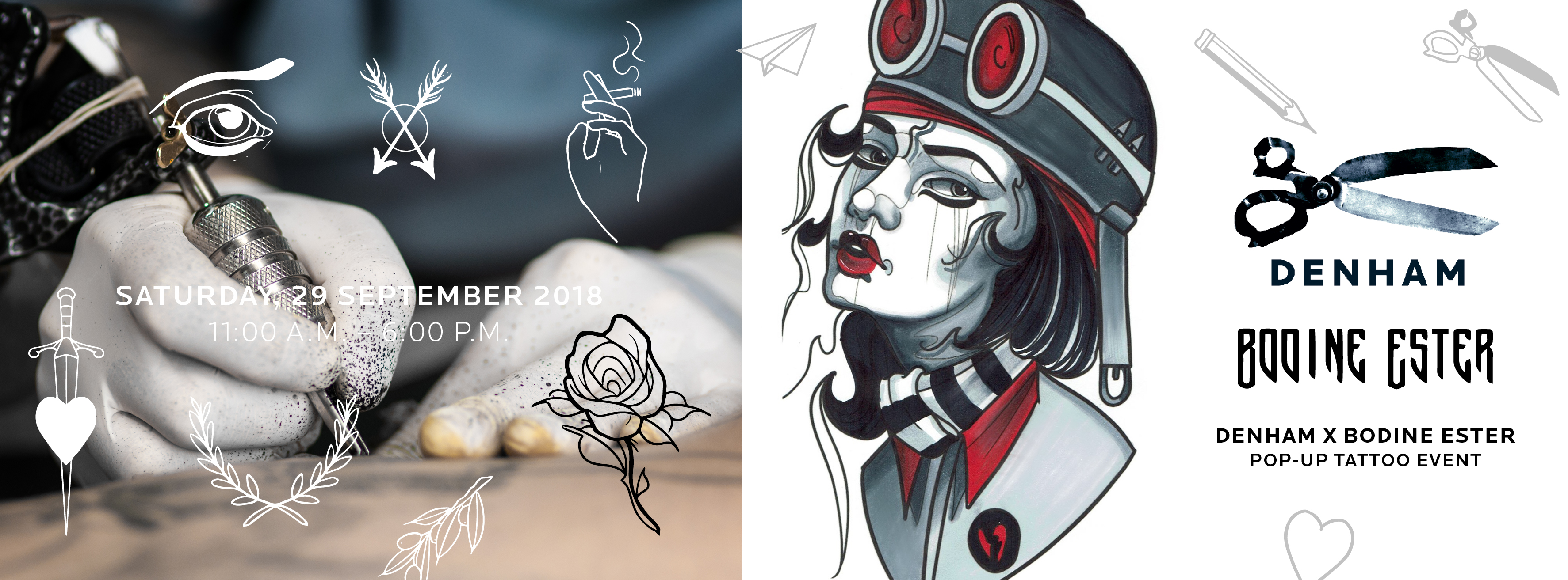 DENHAM x Bodine Ester – Saturday, 29 September 2018 Tattooing in The Denham store in Utrecht.