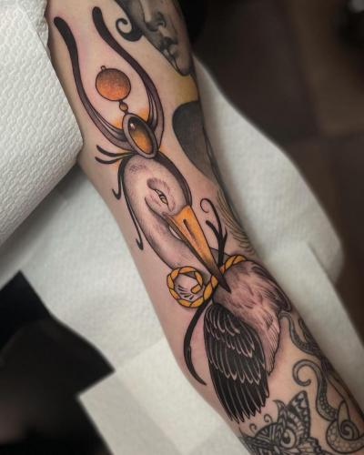 Neotraditional-Color-Tattoo-Heron-Bodine-Ester-Abramov-Amsterdam