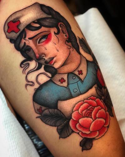 Neotraditional-Color-Tattoo-Nurse-Bodine-Ester-Abramov-Amsterdam