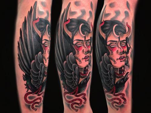Neotraditional-Lady-demon-female-devil-bodine-ester-tattooshop-amsterdam